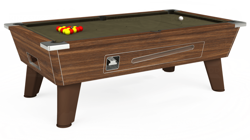 7ft Omega Coin Operated Pool Table in Dark Walnut with Hainsworth Elite-Pro Olive cloth delivered and installed - £1,250.00