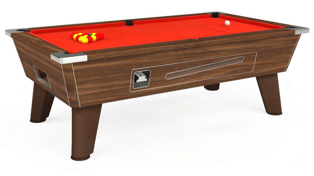 7ft Omega Coin Operated Pool Table in Dark Walnut with Hainsworth Elite-Pro Orange cloth delivered and installed - £1,250.00