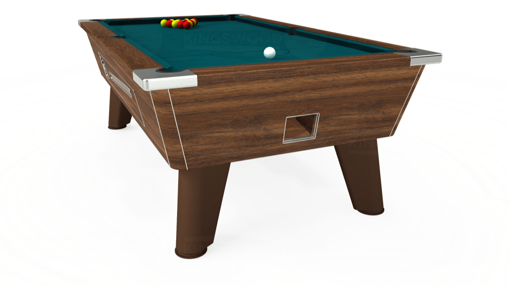 7ft Omega Coin Operated Pool Table in Dark Walnut with Hainsworth Elite-Pro Petrol Blue cloth delivered and installed - £1,250.00