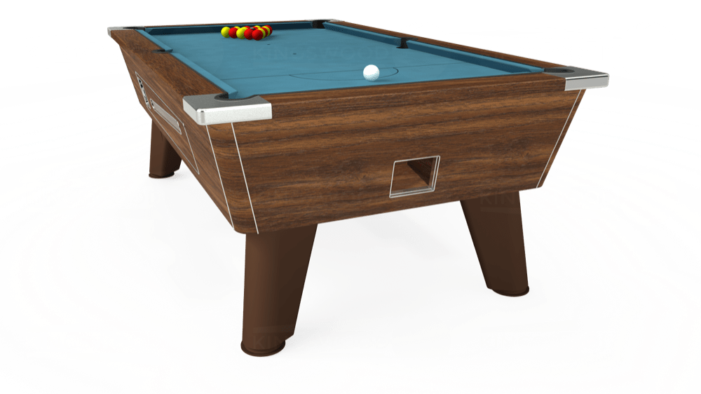 7ft Omega Coin Operated Pool Table in Dark Walnut with Hainsworth Elite-Pro Powder Blue cloth delivered and installed - £1,250.00