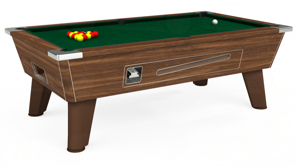 7ft Omega Coin Operated Pool Table in Dark Walnut with Hainsworth Elite-Pro Spruce cloth delivered and installed - £1,250.00