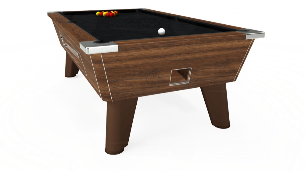 7ft Omega Coin Operated Pool Table in Dark Walnut with Hainsworth Smart Black cloth delivered and installed - £1,250.00