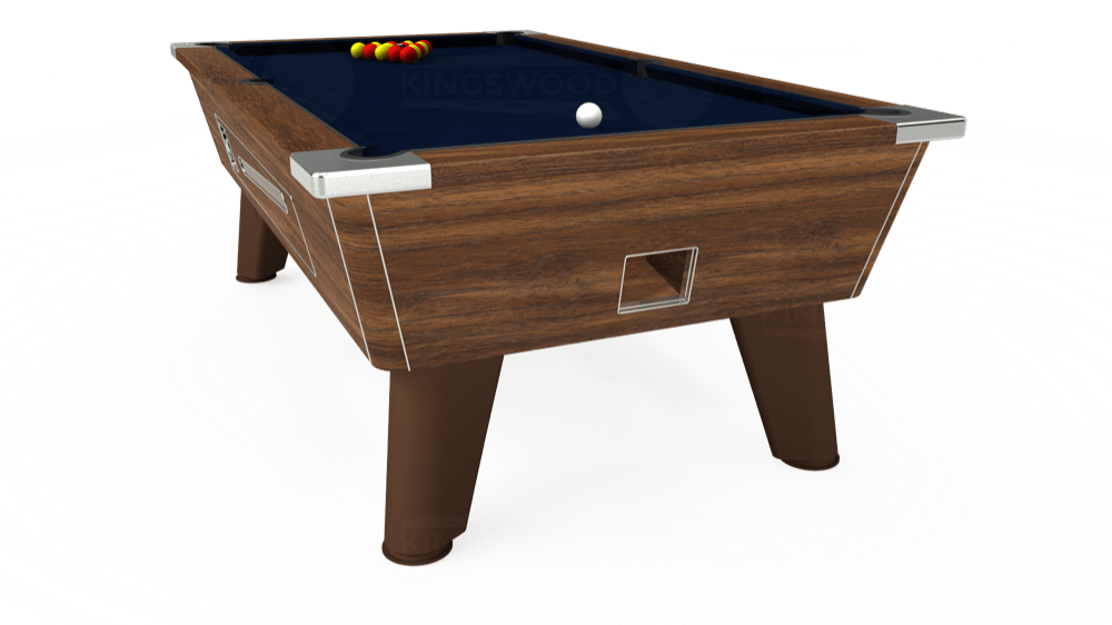 7ft Omega Coin Operated Pool Table in Dark Walnut with Hainsworth Smart French Navy cloth delivered and installed - £1,250.00