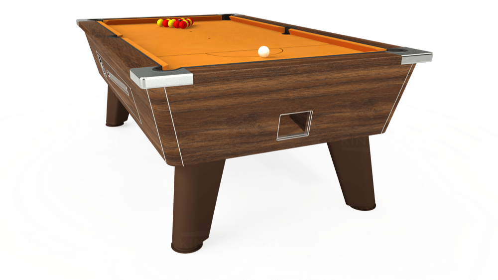 7ft Omega Coin Operated Pool Table in Dark Walnut with Hainsworth Smart Gold cloth delivered and installed - £1,250.00