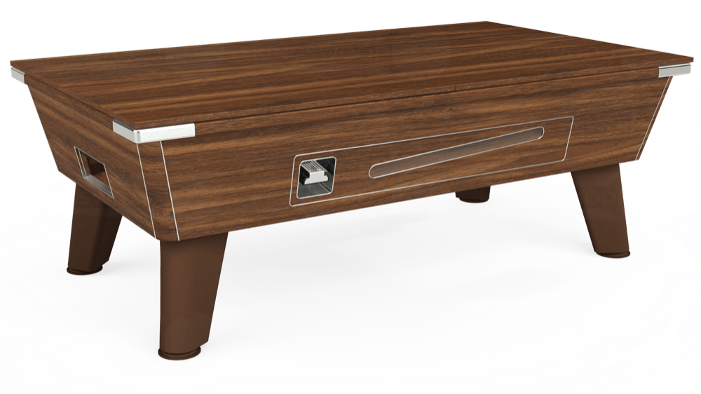 7ft Omega Coin Operated Pool Table in Dark Walnut with Hainsworth Smart Maroon cloth delivered and installed - £1,250.00