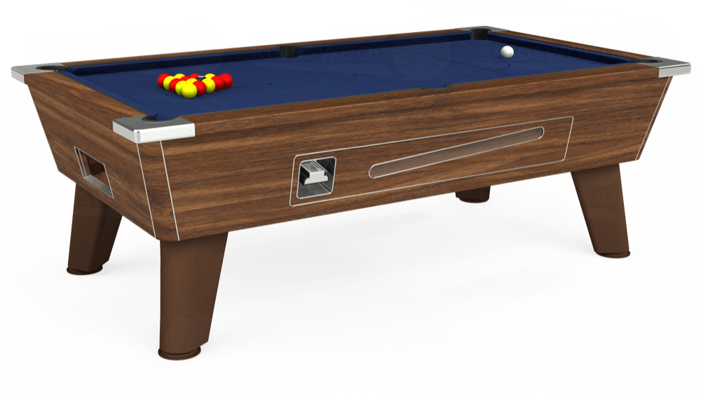 7ft Omega Coin Operated Pool Table in Dark Walnut with Hainsworth Smart Navy cloth delivered and installed - £1,250.00