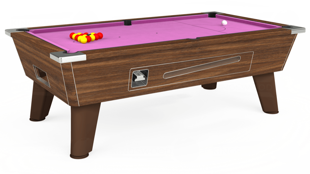 7ft Omega Coin Operated Pool Table in Dark Walnut with Hainsworth Smart Pink cloth delivered and installed - £1,250.00