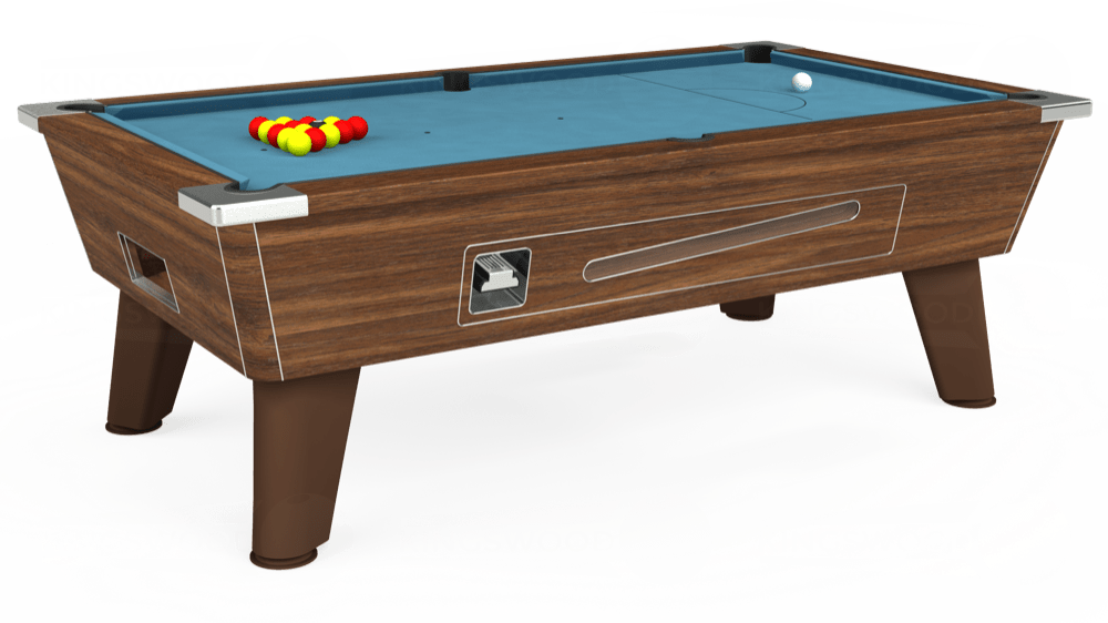7ft Omega Coin Operated Pool Table in Dark Walnut with Hainsworth Smart Powder Blue cloth delivered and installed - £1,250.00