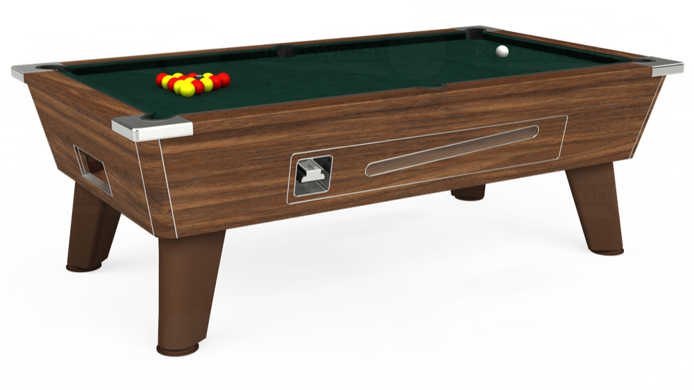 7ft Omega Coin Operated Pool Table in Dark Walnut with Hainsworth Smart Ranger Green cloth delivered and installed - £1,250.00