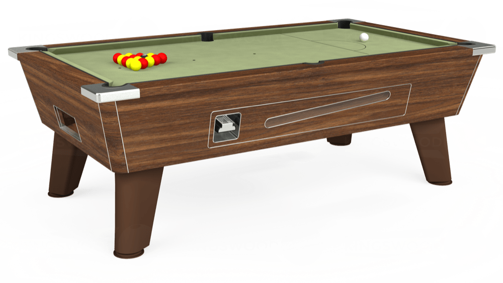 7ft Omega Coin Operated Pool Table in Dark Walnut with Hainsworth Smart Sage cloth delivered and installed - £1,250.00