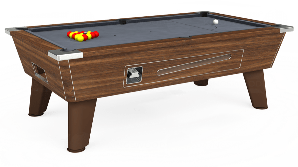 7ft Omega Coin Operated Pool Table in Dark Walnut with Hainsworth Smart Silver cloth delivered and installed - £1,250.00