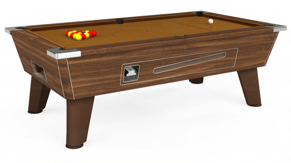 7ft Omega Coin Operated Pool Table in Dark Walnut with Hainsworth Smart Tan cloth delivered and installed - £1,250.00