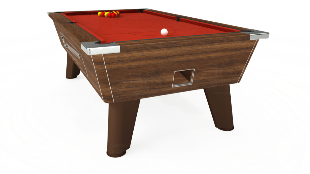 7ft Omega Coin Operated Pool Table in Dark Walnut with Hainsworth Smart Windsor Red cloth delivered and installed - £1,250.00