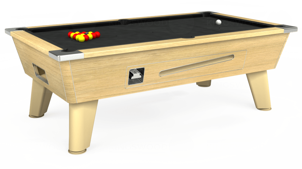 7ft Omega Coin Operated Pool Table in Light Oak with Standard Black cloth delivered and installed - £1,150.00