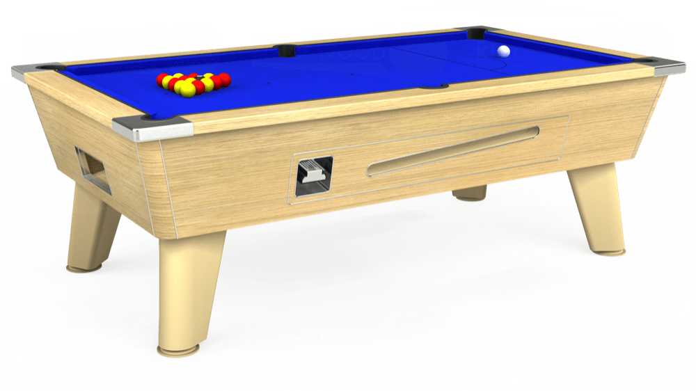 7ft Omega Coin Operated Pool Table in Light Oak with Standard Blue cloth delivered and installed - £1,150.00