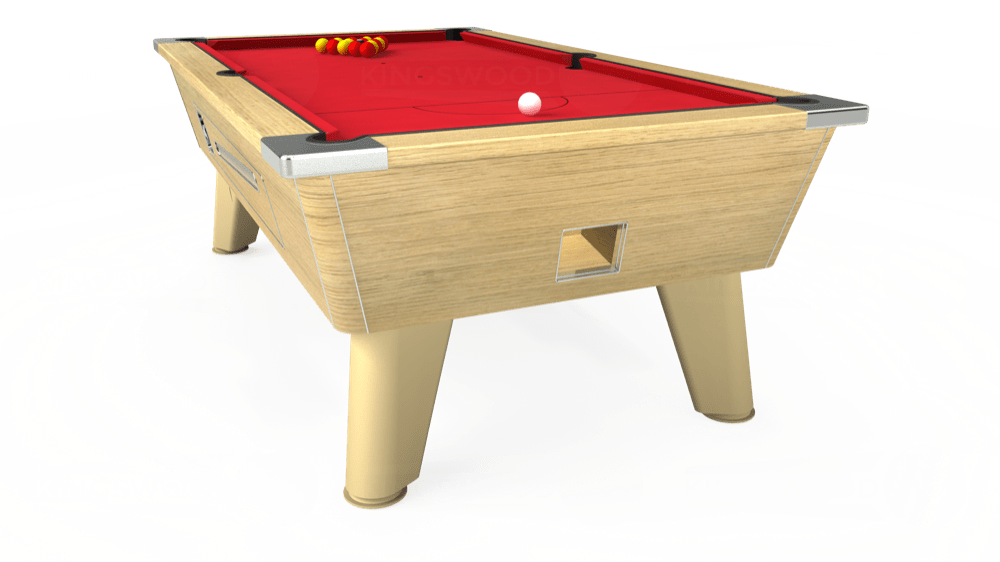 7ft Omega Coin Operated Pool Table in Light Oak with Standard Red cloth delivered and installed - £1,150.00