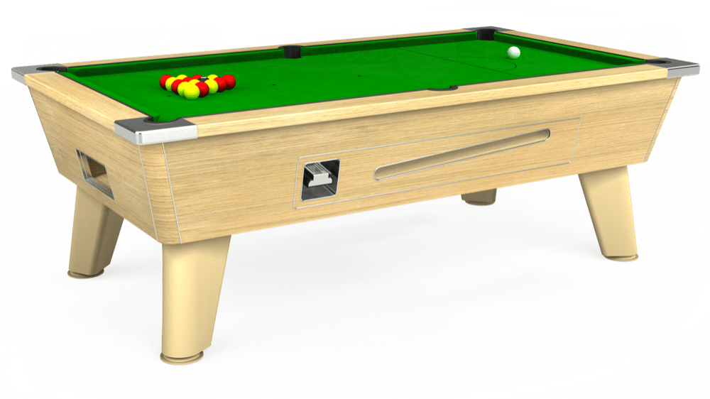 7ft Omega Coin Operated Pool Table in Light Oak with Standard Green cloth delivered and installed - £1,050.00