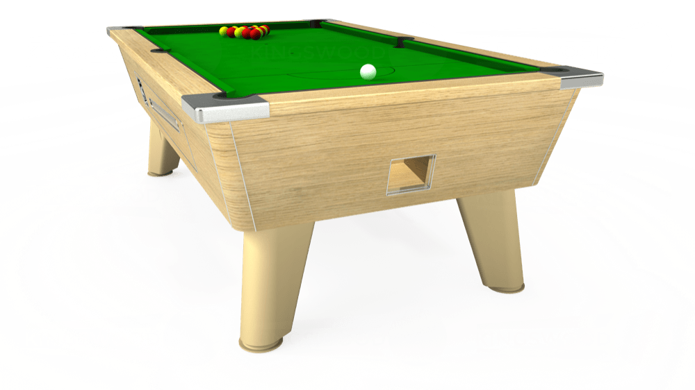 6ft Omega Coin Operated Pool Table in Light Oak with Standard Green cloth delivered and installed - £1,150.00