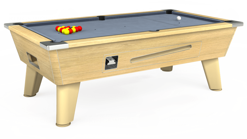 7ft Omega Coin Operated Pool Table in Light Oak with Hainsworth Elite-Pro Bankers Grey cloth delivered and installed - £1,210.00