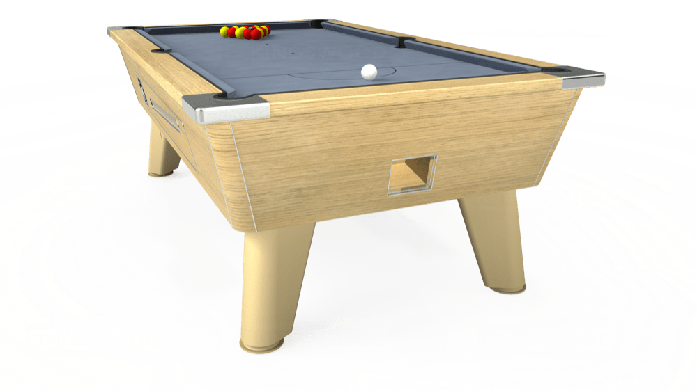 7ft Omega Coin Operated Pool Table in Light Oak with Hainsworth Elite-Pro Bankers Grey cloth delivered and installed - £1,150.00