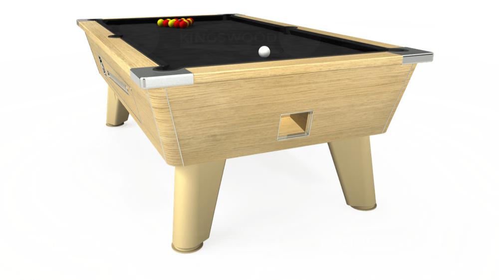 7ft Omega Coin Operated Pool Table in Light Oak with Hainsworth Elite-Pro Black cloth delivered and installed - £1,250.00