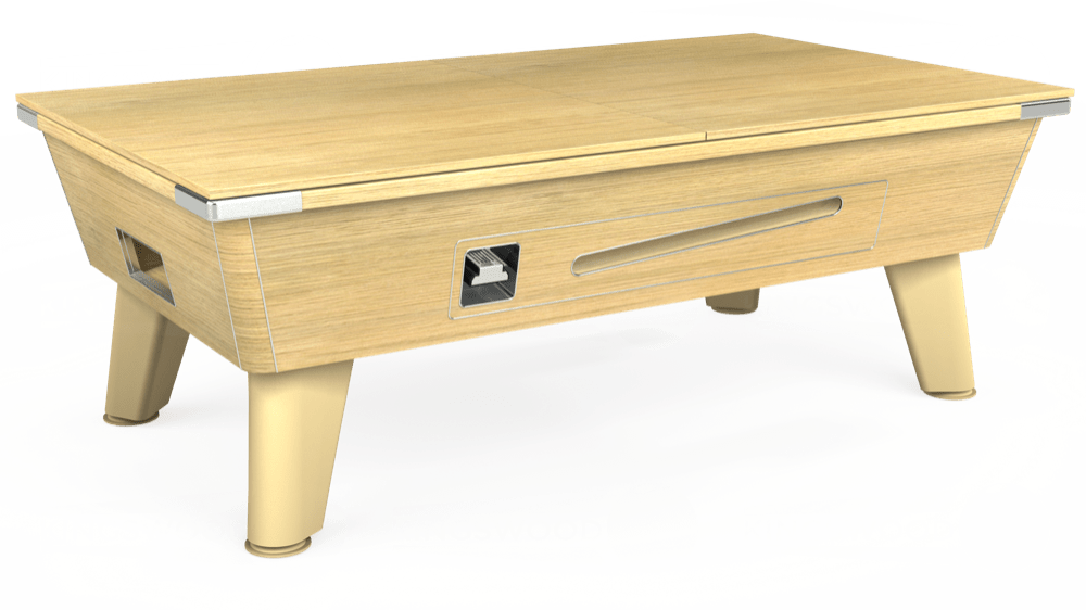 7ft Omega Coin Operated Pool Table in Light Oak with Hainsworth Elite-Pro Bright Red cloth delivered and installed - £1,250.00