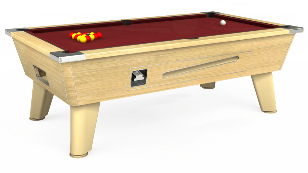 7ft Omega Coin Operated Pool Table in Light Oak with Hainsworth Elite-Pro Burgundy cloth delivered and installed - £1,250.00