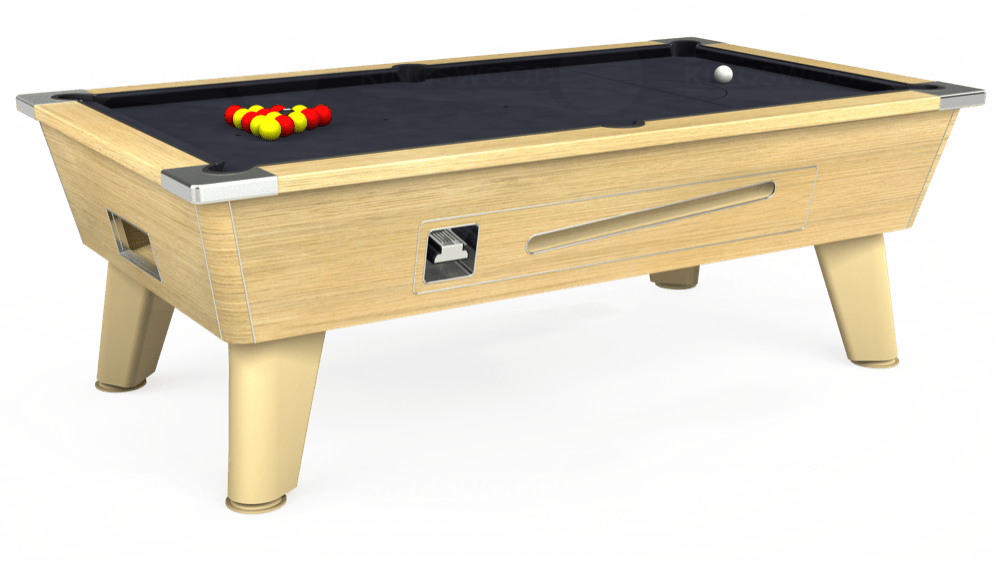 7ft Omega Coin Operated Pool Table in Light Oak with Hainsworth Elite-Pro Charcoal cloth delivered and installed - £1,250.00