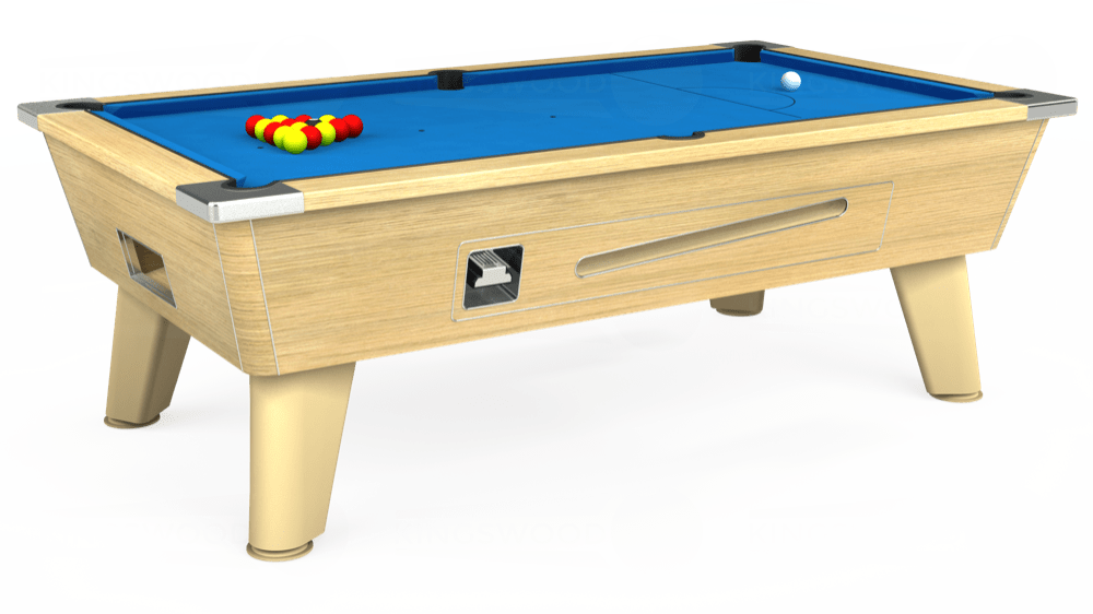 7ft Omega Coin Operated Pool Table in Light Oak with Hainsworth Elite-Pro Electric Blue cloth delivered and installed - £1,250.00