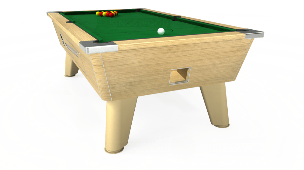 7ft Omega Coin Operated Pool Table in Light Oak with Hainsworth Elite-Pro English Green cloth delivered and installed - £1,250.00