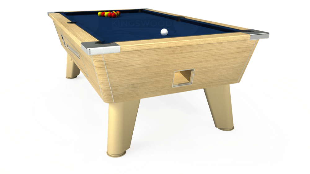 7ft Omega Coin Operated Pool Table in Light Oak with Hainsworth Elite-Pro Marine Blue cloth delivered and installed - £1,250.00