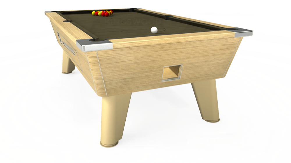 7ft Omega Coin Operated Pool Table in Light Oak with Hainsworth Elite-Pro Olive cloth delivered and installed - £1,250.00