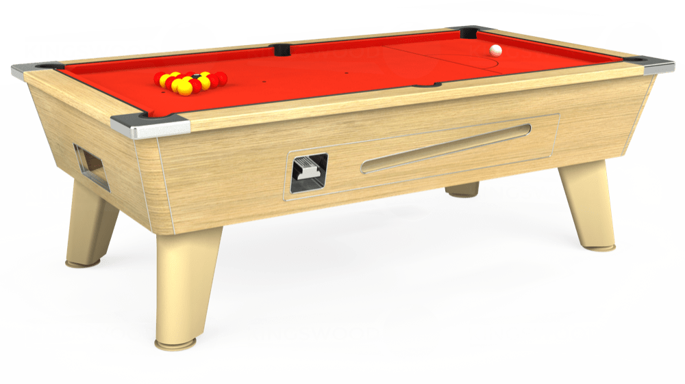 7ft Omega Coin Operated Pool Table in Light Oak with Hainsworth Elite-Pro Orange cloth delivered and installed - £1,250.00