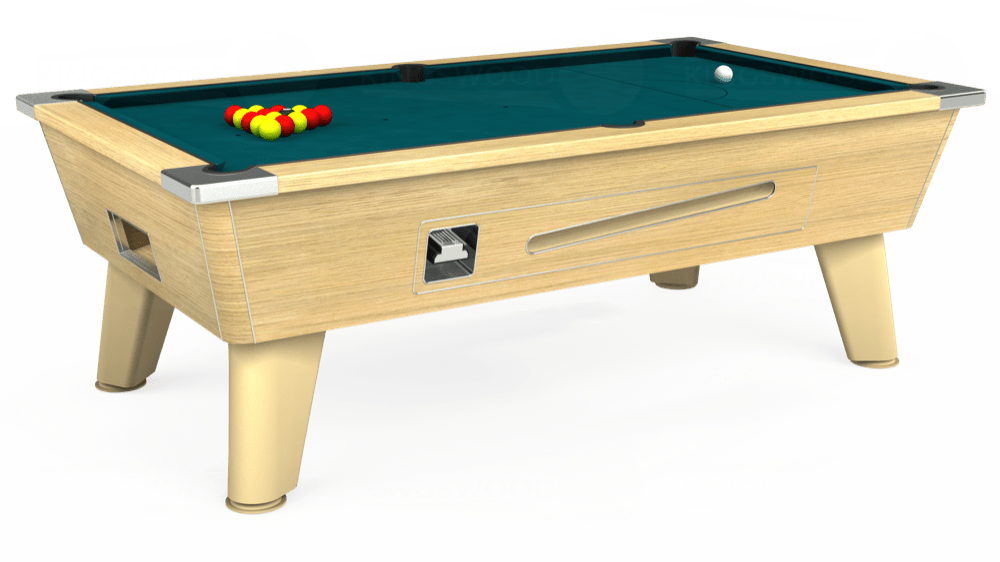 7ft Omega Coin Operated Pool Table in Light Oak with Hainsworth Elite-Pro Petrol Blue cloth delivered and installed - £1,250.00