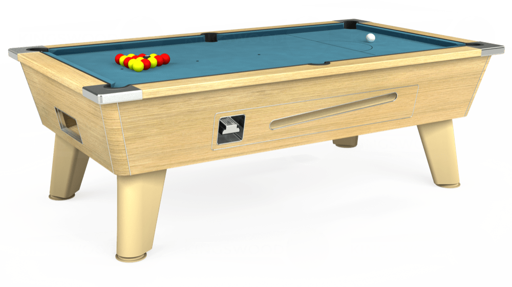 7ft Omega Coin Operated Pool Table in Light Oak with Hainsworth Elite-Pro Powder Blue cloth delivered and installed - £1,250.00