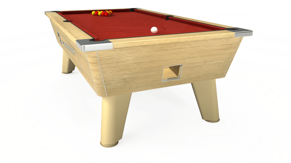 7ft Omega Coin Operated Pool Table in Light Oak with Hainsworth Elite-Pro Red cloth delivered and installed - £1,250.00