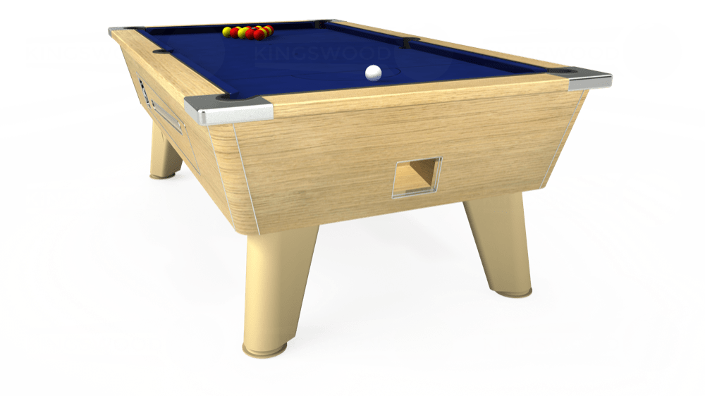 7ft Omega Coin Operated Pool Table in Light Oak with Hainsworth Elite-Pro Royal Blue cloth delivered and installed - £1,250.00