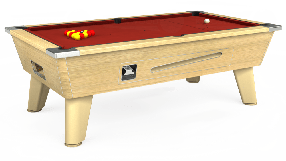 7ft Omega Coin Operated Pool Table in Light Oak with Hainsworth Smart Cherry cloth delivered and installed - £1,250.00