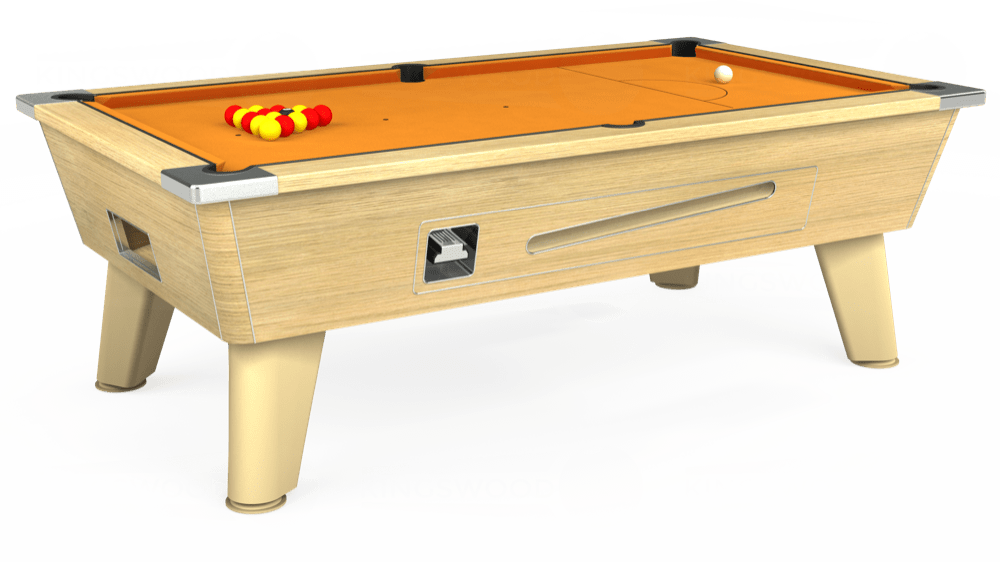 7ft Omega Coin Operated Pool Table in Light Oak with Hainsworth Smart Gold cloth delivered and installed - £1,250.00