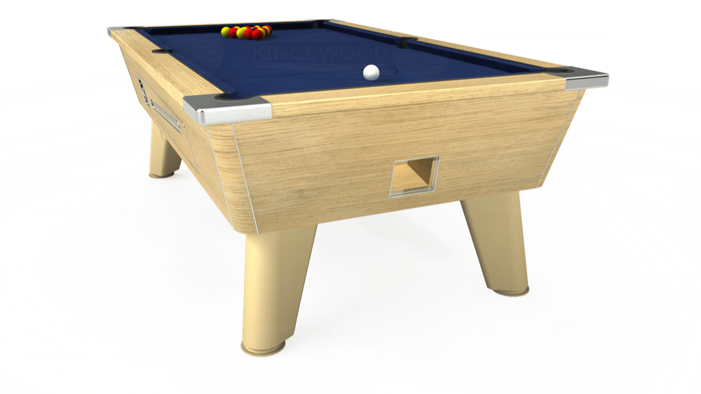 7ft Omega Coin Operated Pool Table in Light Oak with Hainsworth Smart Royal Navy cloth delivered and installed - £1,250.00