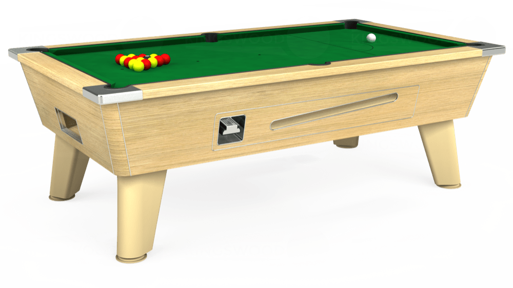 7ft Omega Coin Operated Pool Table in Light Oak with Hainsworth Smart Olive cloth delivered and installed - £1,250.00