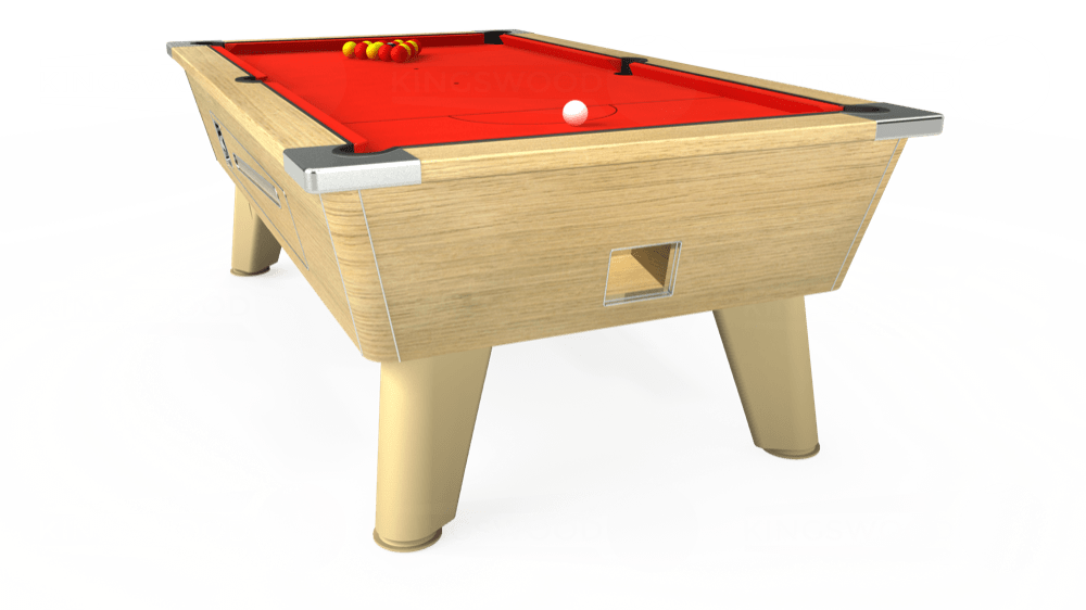 7ft Omega Coin Operated Pool Table in Light Oak with Hainsworth Smart Orange cloth delivered and installed - £1,330.00