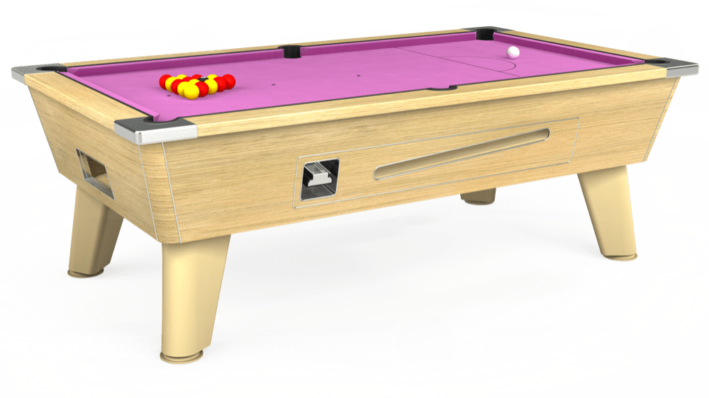 7ft Omega Coin Operated Pool Table in Light Oak with Hainsworth Smart Pink cloth delivered and installed - £1,250.00