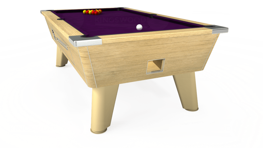 7ft Omega Coin Operated Pool Table in Light Oak with Hainsworth Smart Purple cloth delivered and installed - £1,250.00
