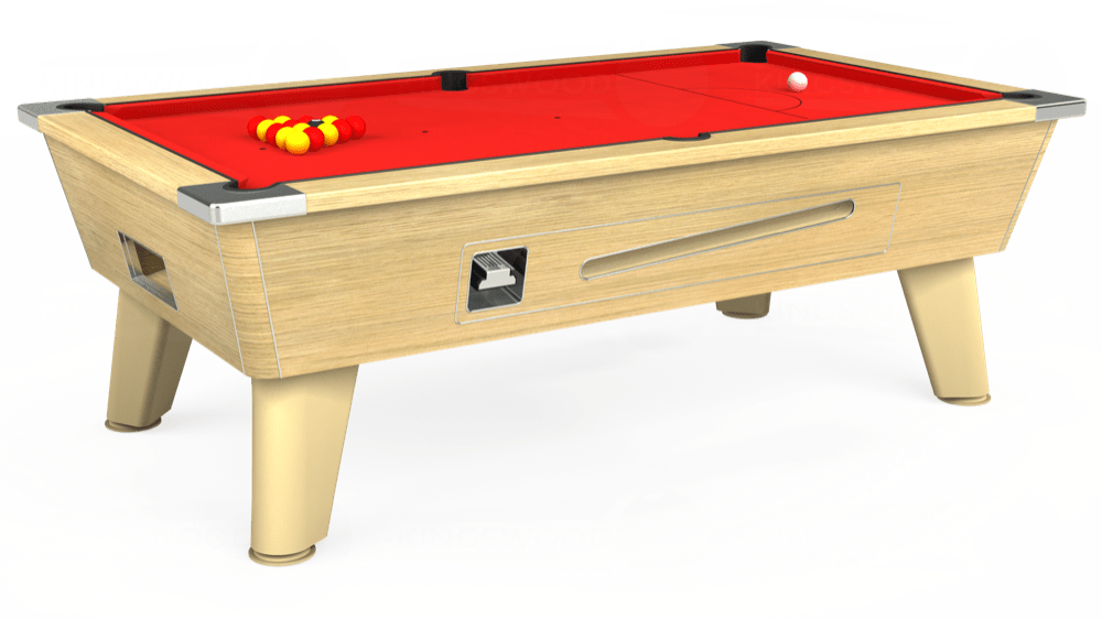 7ft Omega Coin Operated Pool Table in Light Oak with Hainsworth Smart Red cloth delivered and installed - £1,250.00