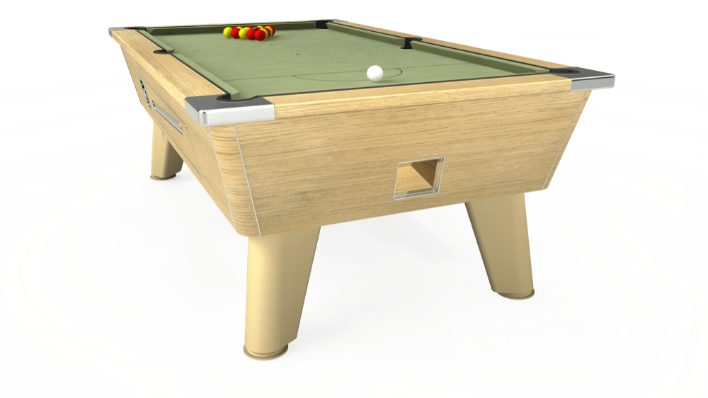 7ft Omega Coin Operated Pool Table in Light Oak with Hainsworth Smart Sage cloth delivered and installed - £1,250.00