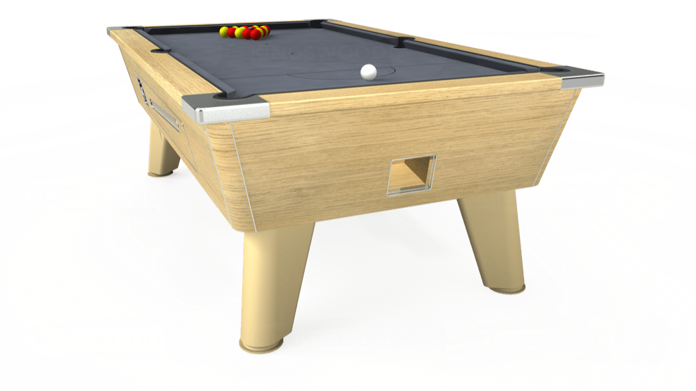 7ft Omega Coin Operated Pool Table in Light Oak with Hainsworth Smart Silver cloth delivered and installed - £1,250.00