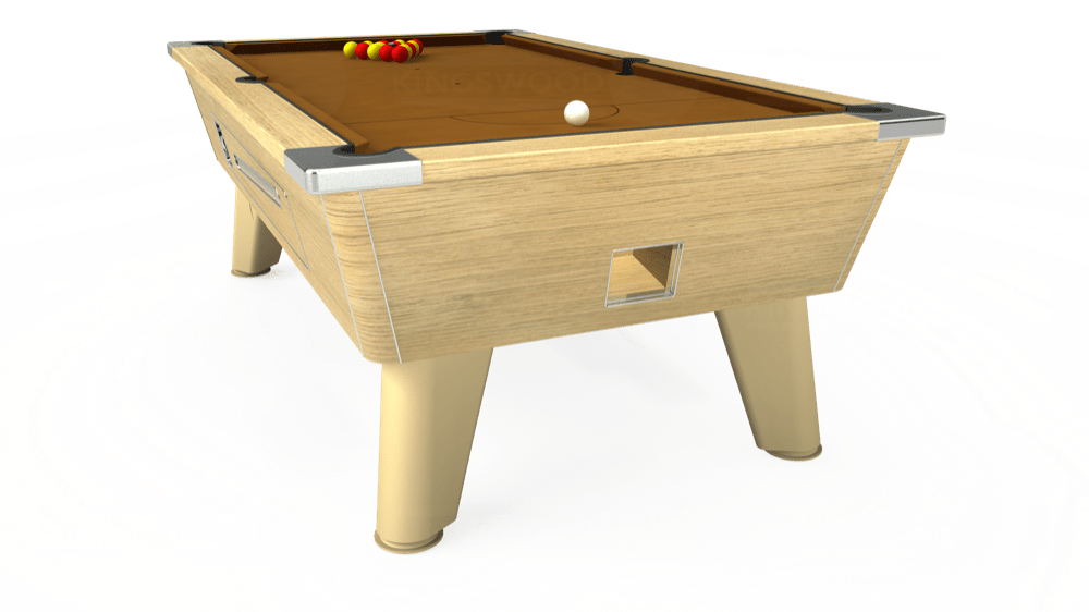 7ft Omega Coin Operated Pool Table in Light Oak with Hainsworth Smart Tan cloth delivered and installed - £1,250.00