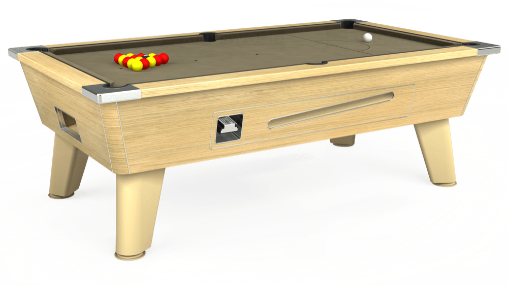 7ft Omega Coin Operated Pool Table in Light Oak with Hainsworth Smart Taupe cloth delivered and installed - £1,250.00