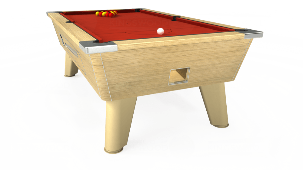 7ft Omega Coin Operated Pool Table in Light Oak with Hainsworth Smart Windsor Red cloth delivered and installed - £1,250.00